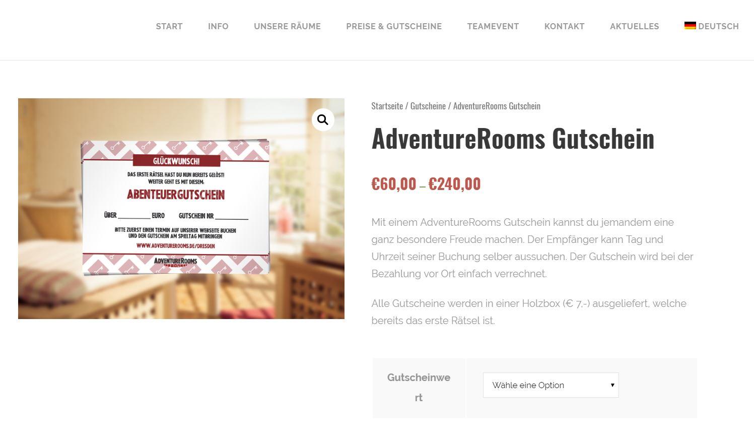 AdventureRooms Dresden neuer Gutschein Shop