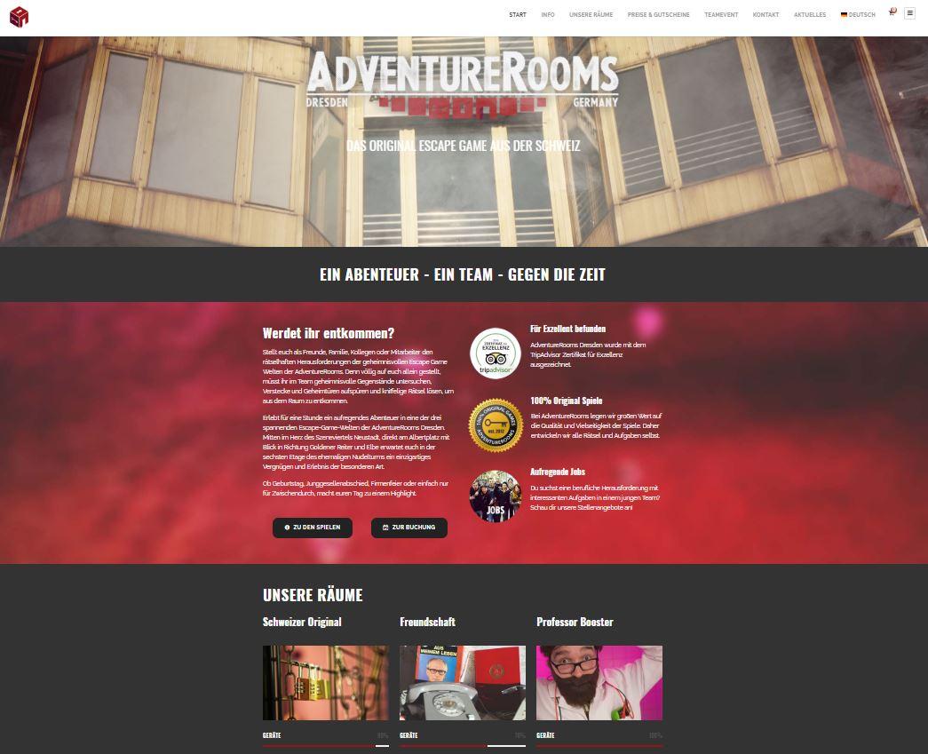 AdventureRooms Dresden neue Website