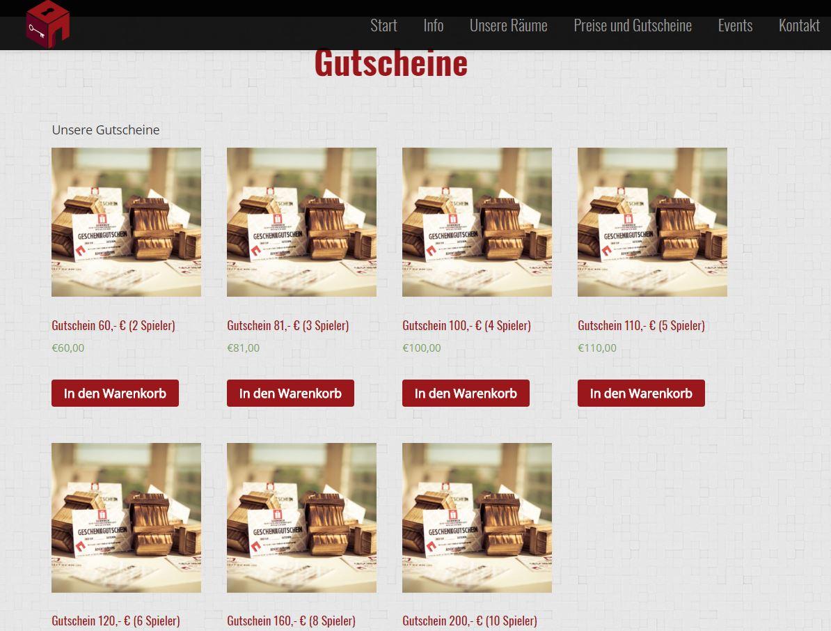 AdventureRooms Leizpig alter Gutschein Shop