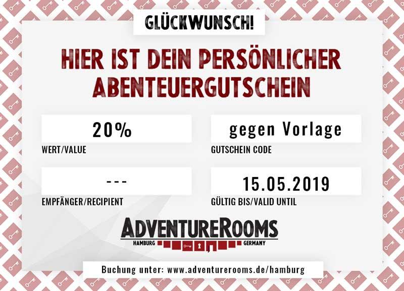 Escape Room Rabatt Gutschein -20%